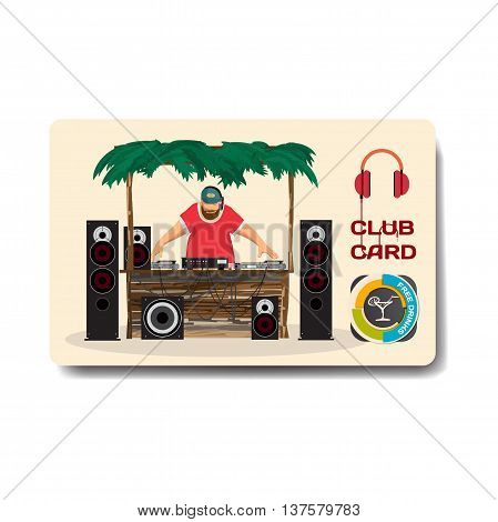 Vector summer party flyer disco style. Day beach dj with sound system template posters invitation.