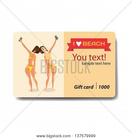 Brunette woman dressed in yellow swimsuit is standing and makes selfie. Back front view. Sale discount gift card. Branding design for smartphones and accessories shop