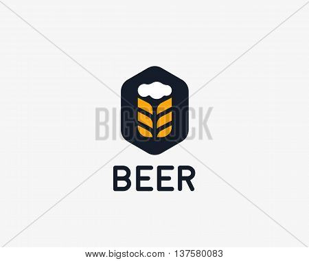 Brewery logotype. Beer vector logo design template. Pub modern symbol. Stylized mug of beer badge emblem