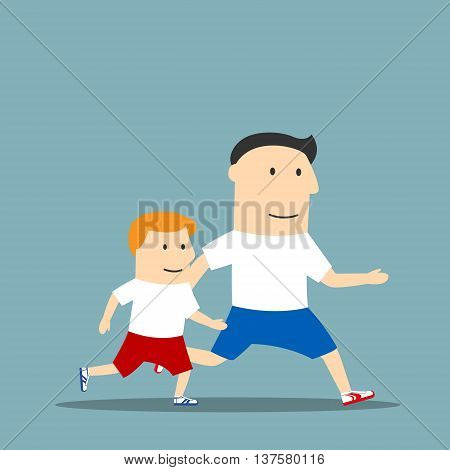 Healthy lifestyle, sporting family, outdoor sport theme design. Cartoon cheerful father and son in sporting uniform are jogging and spending time together