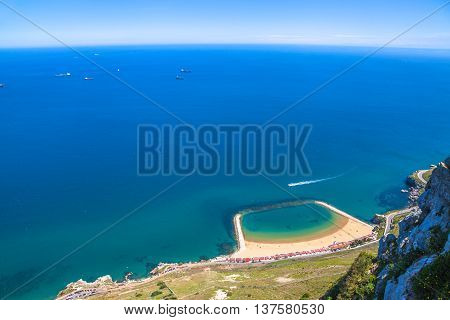 Aerial view of the Sandy Bay beach in Gibraltar of the South West Europe which is part of the United Kingdom.