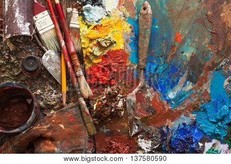 art paints palette brushes pencil darck tone