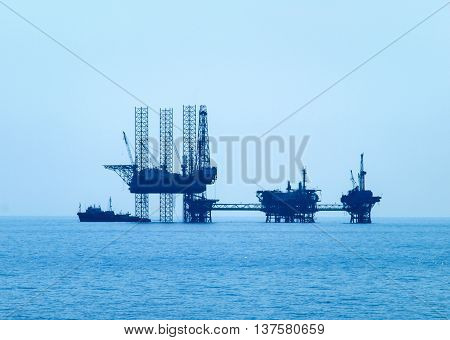 Oil industry platform in the Aegean Sea