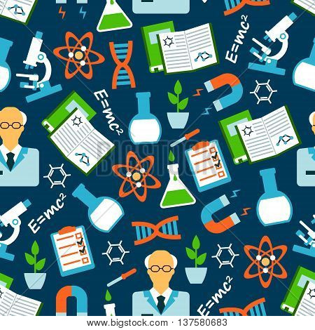 Seamless background of science research and education with flat pattern of scientists, books and microscopes, laboratory flasks and plants, physical and chemical formulas and models of DNA and atom, experiment results and magnets