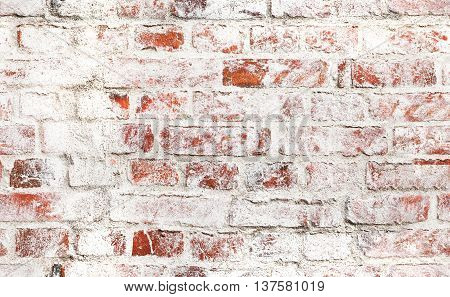 Old Red Brick Wall With Damaged White Paint