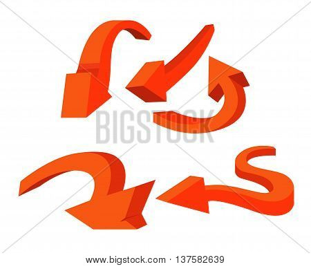 set of red isolated expressive twisted arrows