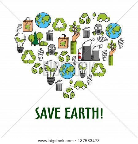 Eco friendly heart icon with colored sketches of light bulbs with green leaves, recycling symbols and paper bags, hands with plants and earth globes, trees, electric cars, fuming pipes and gas masks
