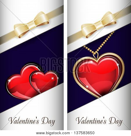 St. Valentine's Day. Set of white ornate label with gold ribbon and gold bow and blue background. Grouped for easy editing. May be used for chocolate, wine, beer, champagne, cognac, cologne and etc.
