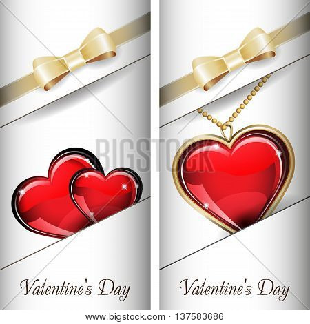 St. Valentine's Day. Set of white ornate label with gold ribbon and gold bow and white background. Grouped for easy editing. May be used for chocolate, wine, beer, champagne, cognac, cologne and etc.