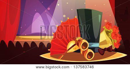 Color cartoon illustration depictin equipment theatre audiences binoculars fan bouquet of flowers silk hat vector illustration