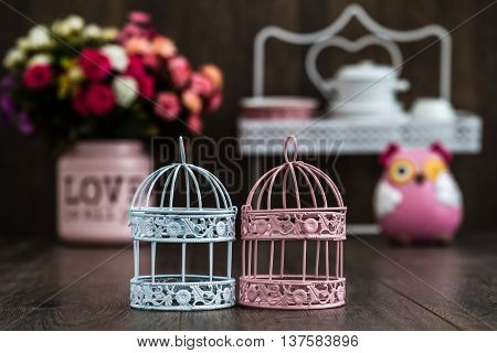 Pink And Blue Wrought Iron Candle Holders