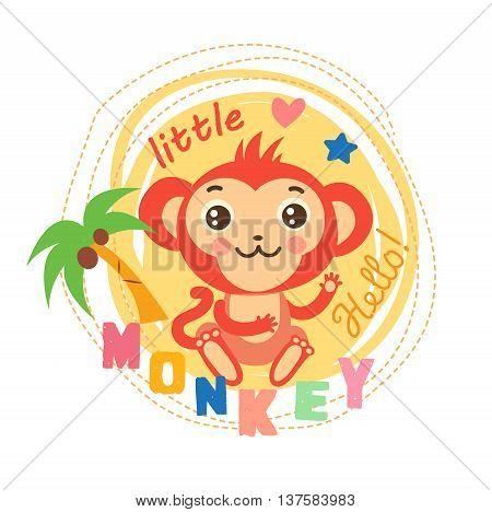 Little Monkey Vector Illustration. Baby Theme Cartoon. Cute Picture For Kids. T-Shirt Design. Little Monkey Calms.