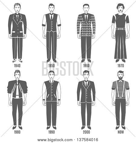 Men Fashion Black White Icons Set. Fashion Development Vector Illustration. Man Fashion Evolution Decorative Set.  Fashion Evolution Design Set. Fashion Evolution Flat Isolated Set.