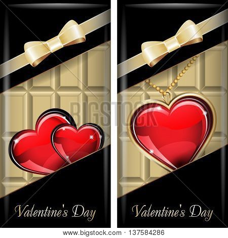 St. Valentine's Day. Set of black ornate label with gold ribbon and gold bow for white chocolate. Grouped for easy editing.