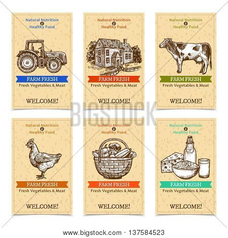 Six vertical farm tags welcome banners with healthy food farm animals tractor farmhouse with textural beige background sketch hand drawn isolated vector illustration
