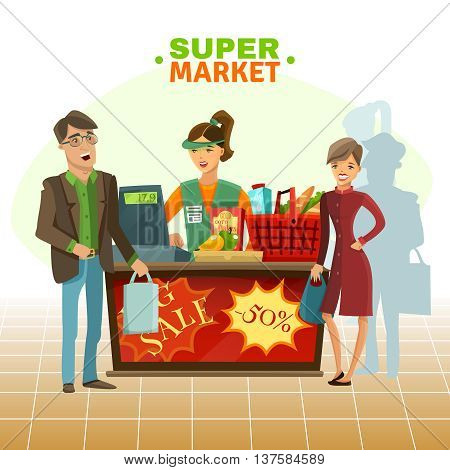 Supermarket cashier with customer food drink and basket cartoon vector illustration
