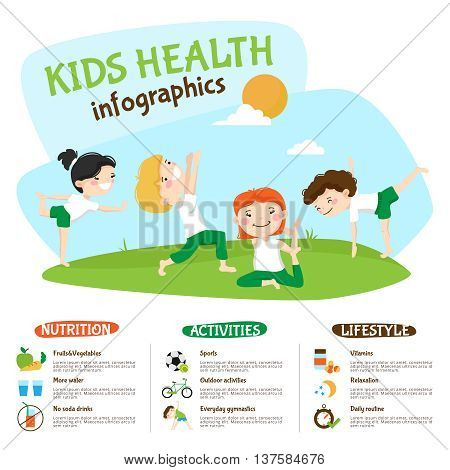 Healthy lifestyle tips for kids infographic poster webpage with children practicing yoga outdoors funny abstract vector illustration