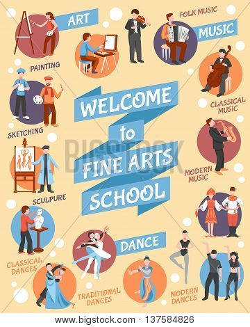 Fine arts school poster with  art and dance symbols flat vector illustration