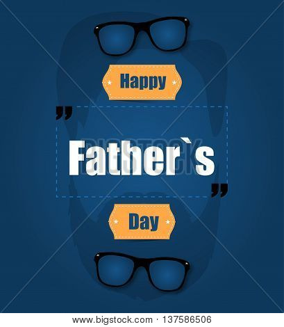 Happy Father's Day On A Blue Background With A Beard
