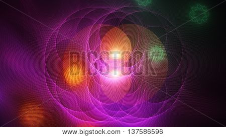 Merge colored spheres. Secrets consciousness.3D surreal illustration. Sacred geometry. Mysterious psychedelic relaxation pattern. Fractal abstract texture. Digital design astrology alchemy magic