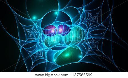 Very bright spiderweb. 3D surreal illustration. Sacred geometry. Mysterious psychedelic relaxation pattern. Fractal abstract texture. Digital artwork graphic design astrology alchemy magic