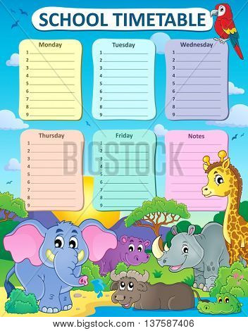 Weekly school timetable thematics 4 - eps10 vector illustration.