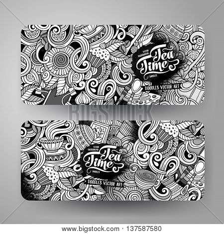 Cartoon line art sketchy vector hand drawn doodles cafe corporate identity. 2 Horizontal banners design. Templates set