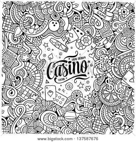 Cartoon cute doodles hand drawn casino frame design. Line art detailed, with lots of objects background. Funny vector illustration. Sketchy border with gambling theme items