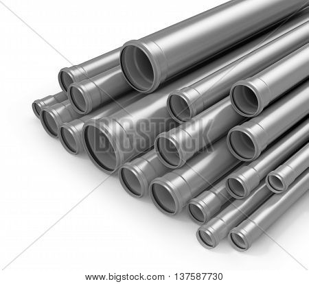 Plastic tubes isolated white background. Polypropylene pipes. 3D illustration.