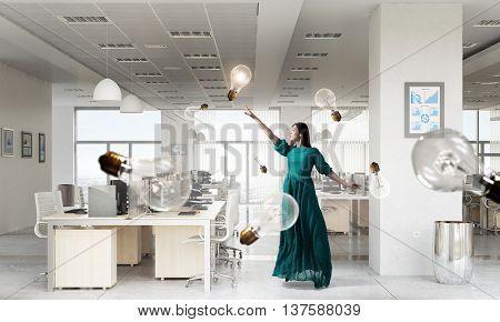 Woman in green dress . Mixed media