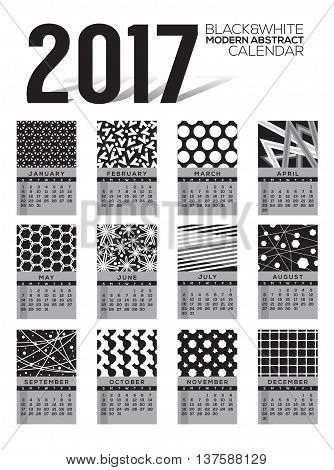 Modern Abstract 2017 Printable Calendar Starts Sunday Black And White Graphic Vector Illustration. EPS 10