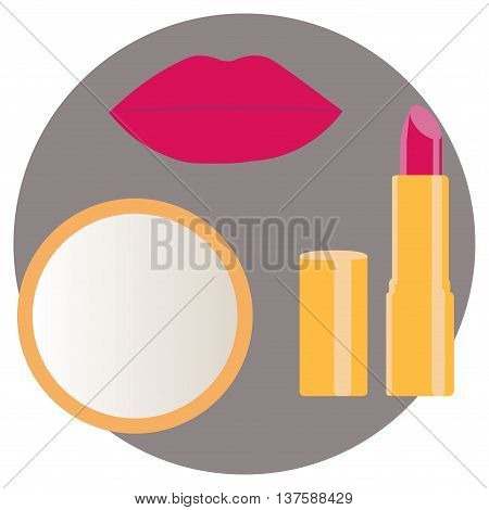 Lips with lipstick and mirror. Vector illustration.