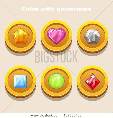 Set of different cartoon coins with colorful gemstones inside, for web game or application interface in vector