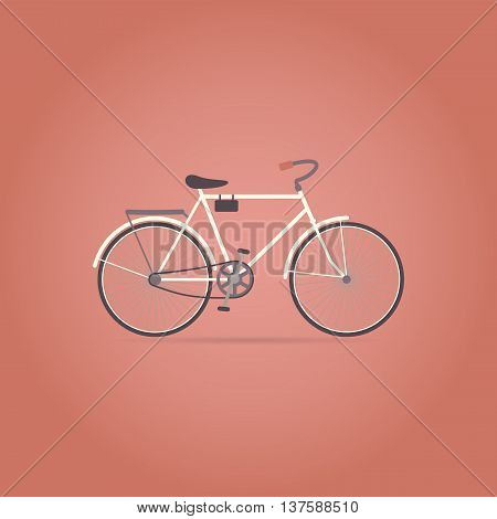 Bicycle flat icon on red background. Retro style. Vector illustration.