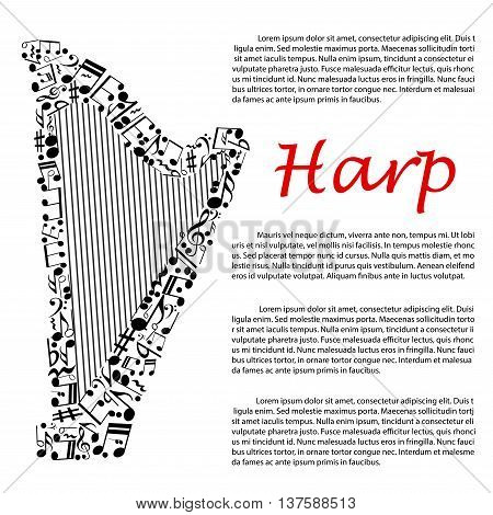 Modern concert harp symbol composed of musical notes and key signatures, treble and bass clefs for music infographics design usage with editable text layout