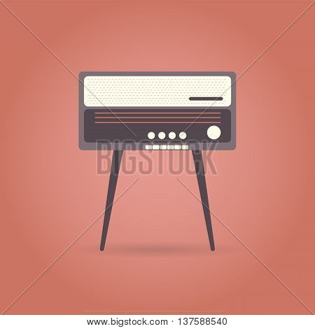 Vintage radio flat icon on red background. Retro style. Vector illustration.