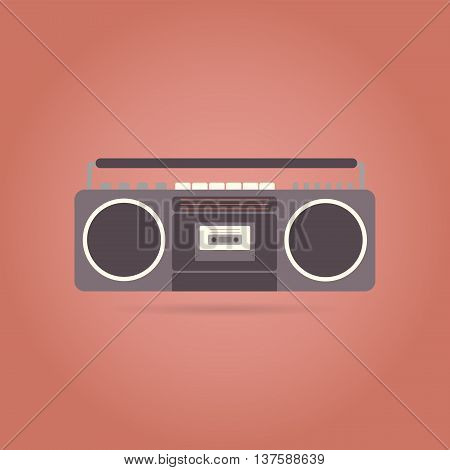 Tape recorder flat icon. Retro design. Vintage. Vector illustration.