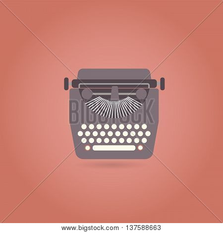 Retro style typewriter flat icon. Vector illustration.