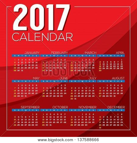 Modern Abstract 2017 Printable Calendar Starts Sunday Red Background Vector Illustration. EPS 10
