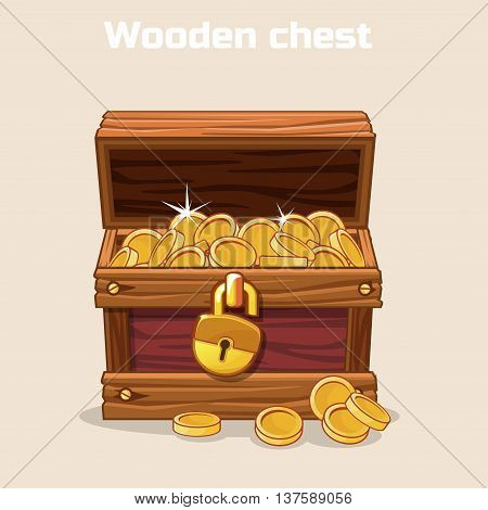 Opened antique treasure chest, coin. Vector illustration