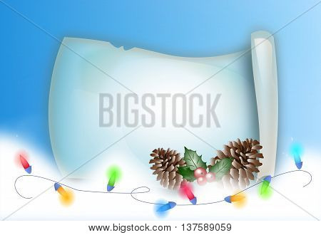 Illustration of christmas parchment with christmas decoration and rein of lights