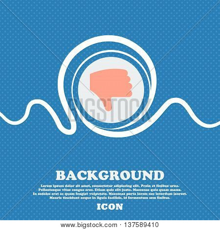 Dislike, Thumb Down, Hand Finger Down  Sign Icon. Blue And White Abstract Background Flecked With Sp