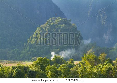Landscape near in The Vang Vieng Laos.