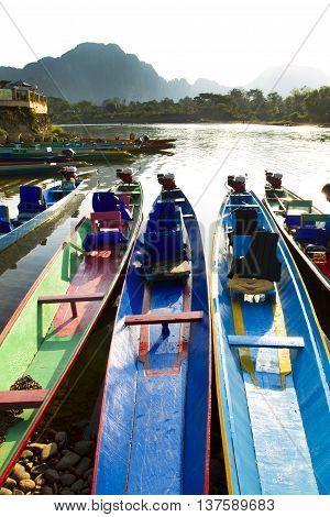 Boats at the Nam Song river in Vang Vieng