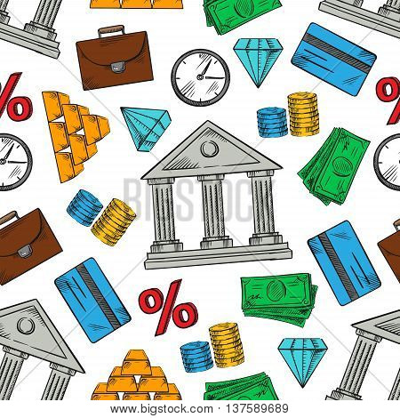 Financial, banking and business pattern with seamless background of money bills and coins, gold bars and bank credit cards, diamonds and bank buildings, interest rate symbols, clocks and briefcases