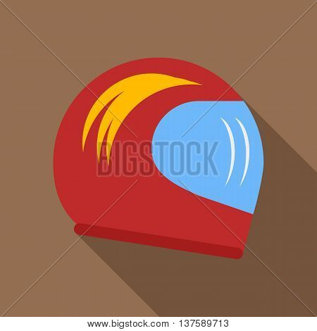 Racing helmet icon in flat style on a coffee background