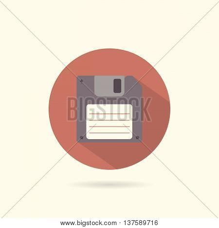 Floppy round flat icon. Retro style. Vector illustration.