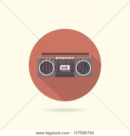 Tape recorder flat round icon. Retro design. Vintage. Vector illustration.
