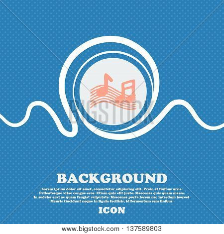 Musical Note, Music, Ringtone Sign Icon. Blue And White Abstract Background Flecked With Space For T