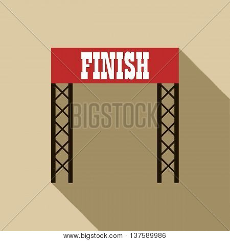 Finish line icon in flat style on a beige background